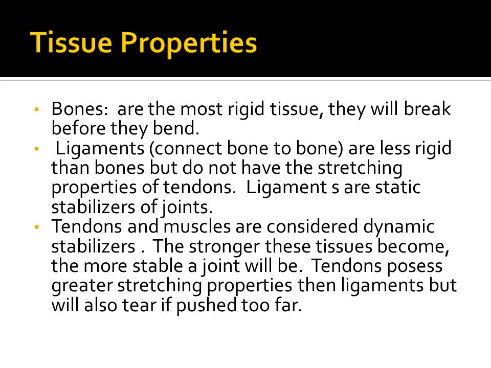 Tissue Properties Bones: are the most rigid tissue, they will break before they bend.