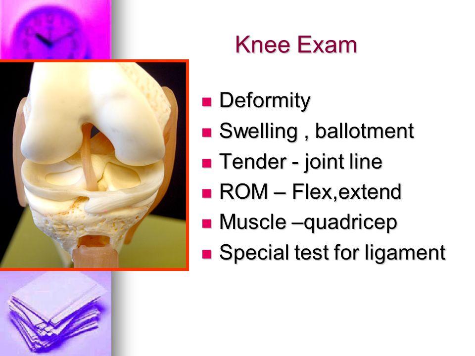 Knee Exam Deformity Swelling , ballotment Tender - joint line