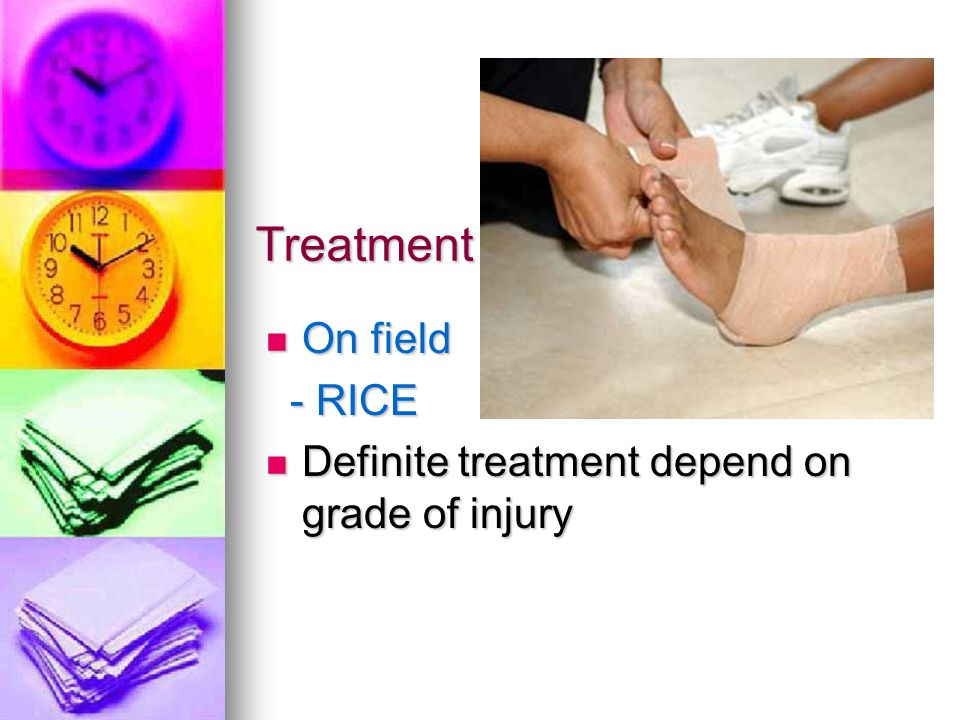 Treatment On field - RICE Definite treatment depend on grade of injury