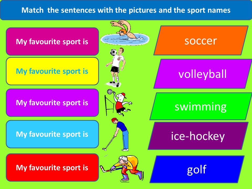 Match the sentences with the pictures and the sport names