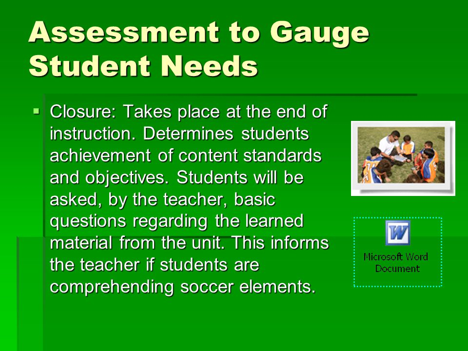 Assessment to Gauge Student Needs