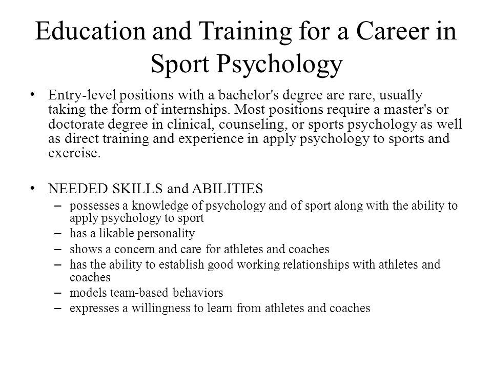 Education and Training for a Career in Sport Psychology