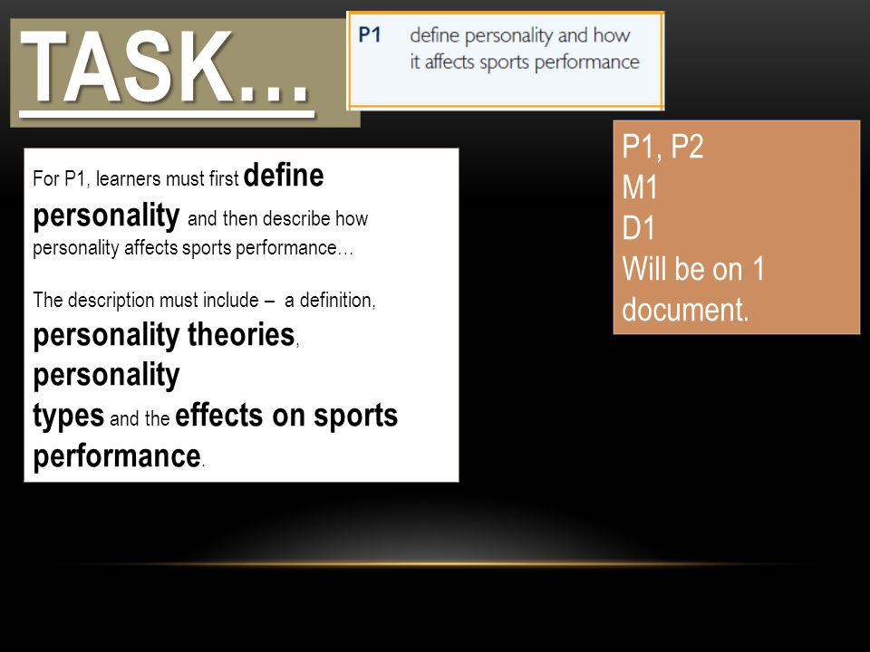TASK… P1, P2 M1 D1 Will be on 1 document.