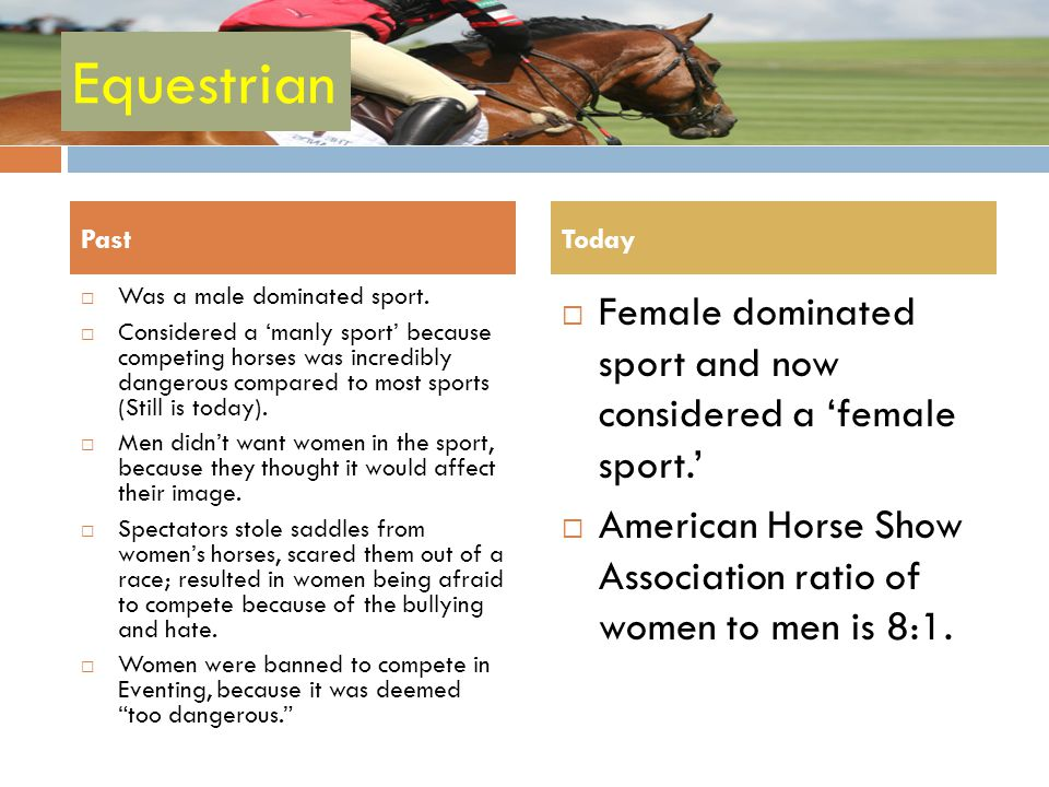 Equestrian Female dominated sport and now considered a 'female sport.'