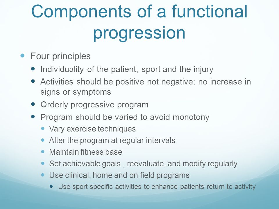 Components of a functional progression