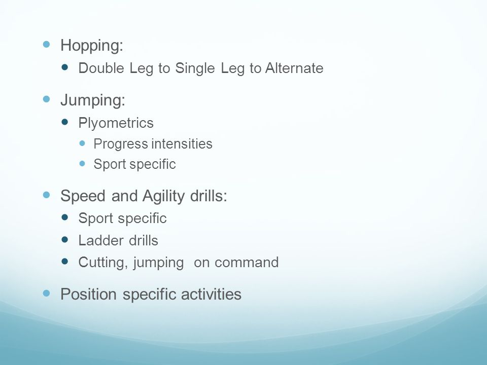 Speed and Agility drills: