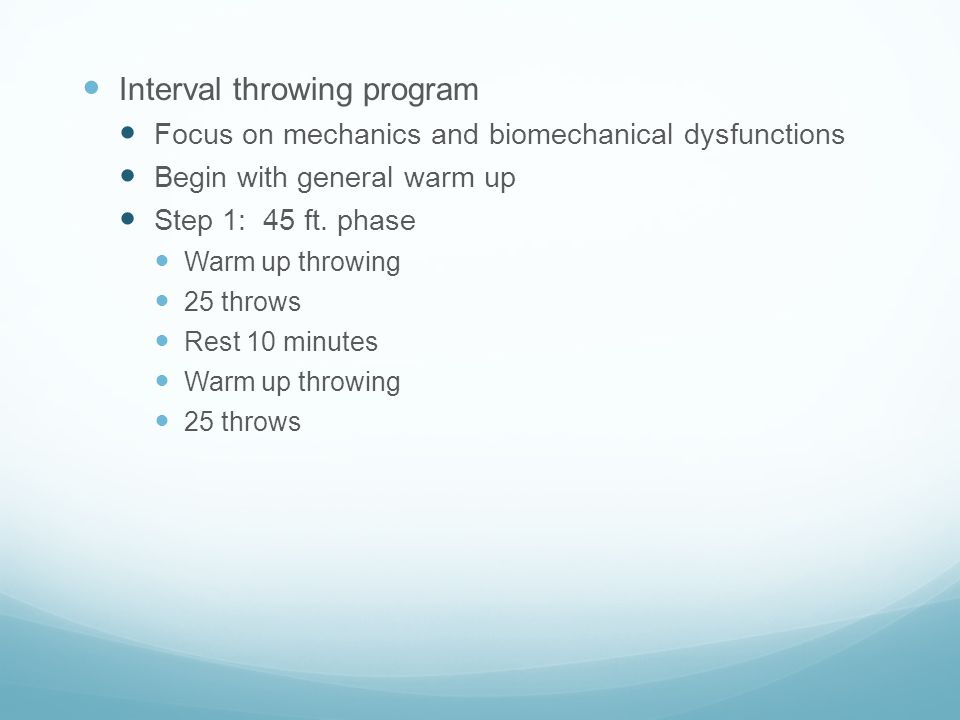 Interval throwing program