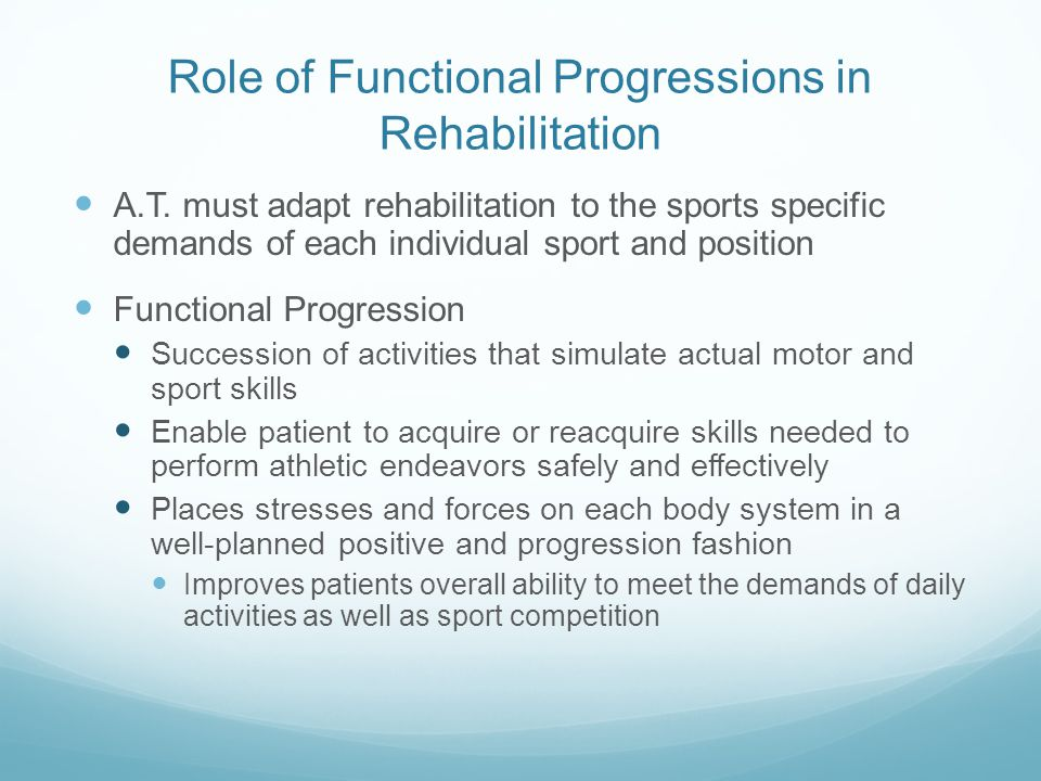 Role of Functional Progressions in Rehabilitation