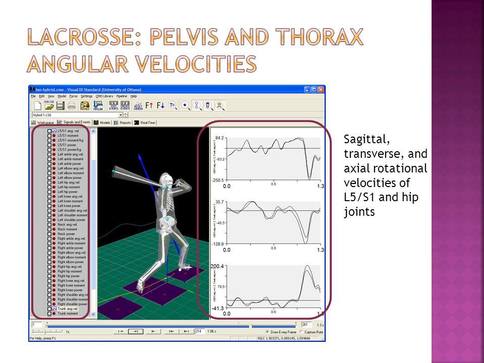 Lacrosse: pelvis and thorax angular velocities