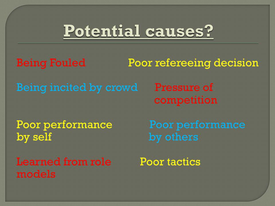 Potential causes Being Fouled Poor refereeing decision