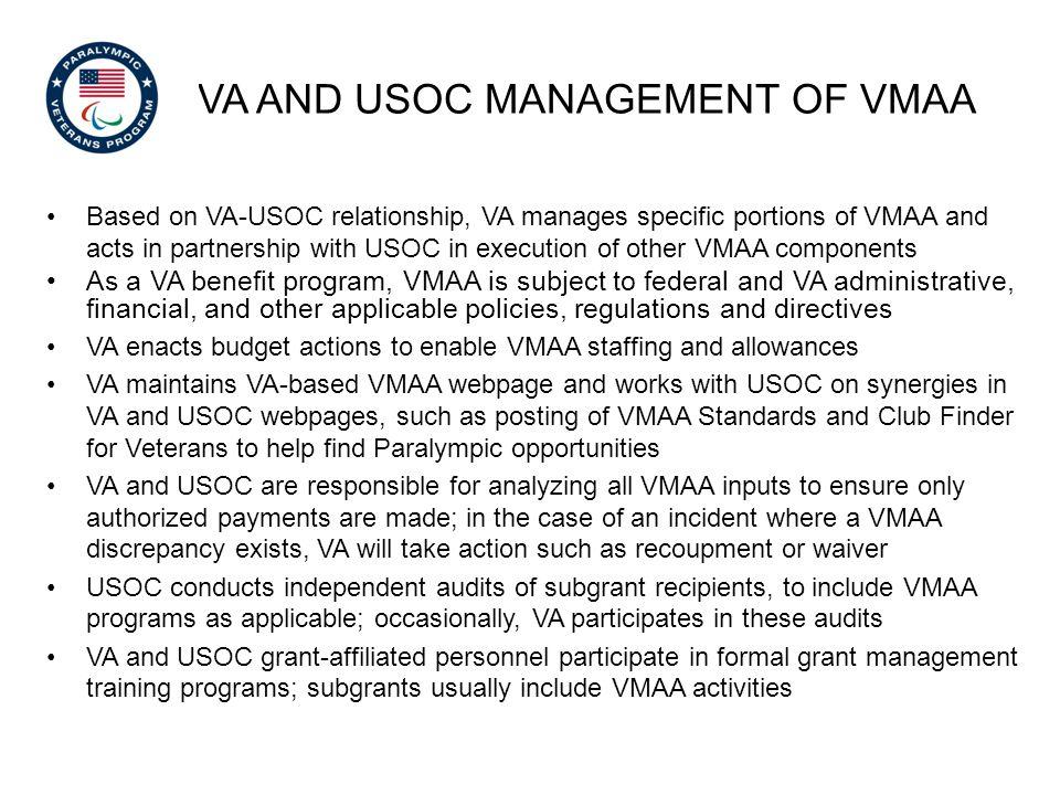 VA and USOC Management of vmaa