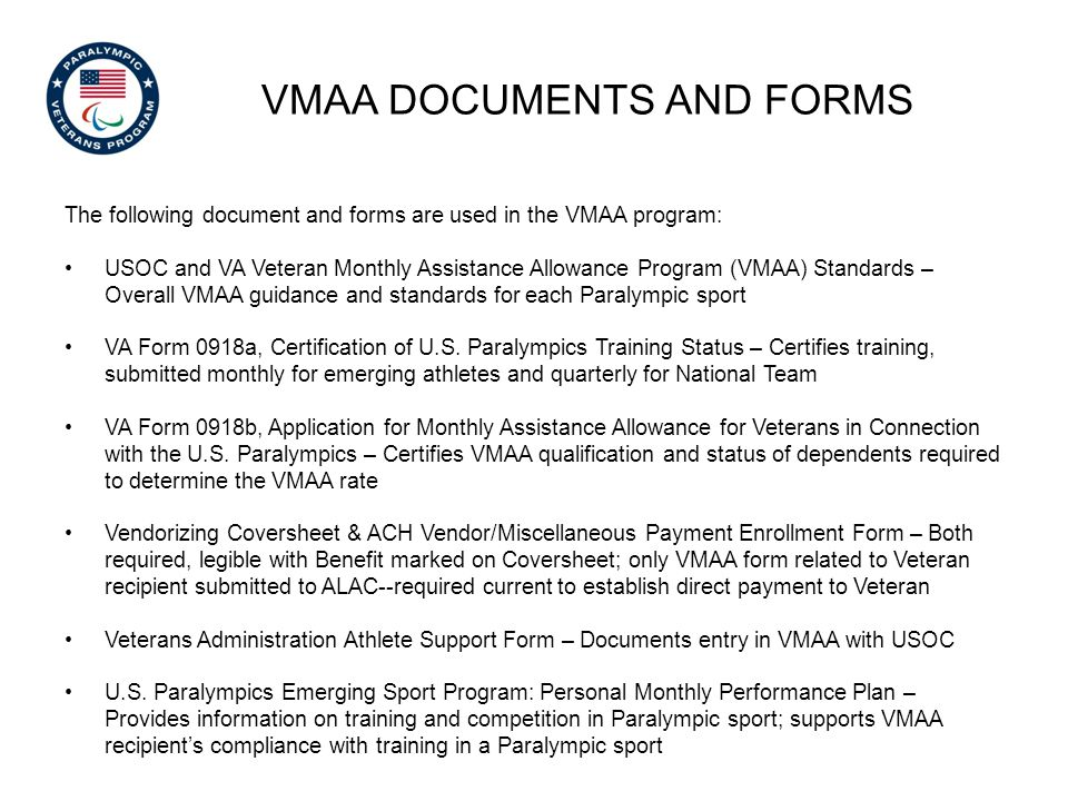 vmaa documents and forms
