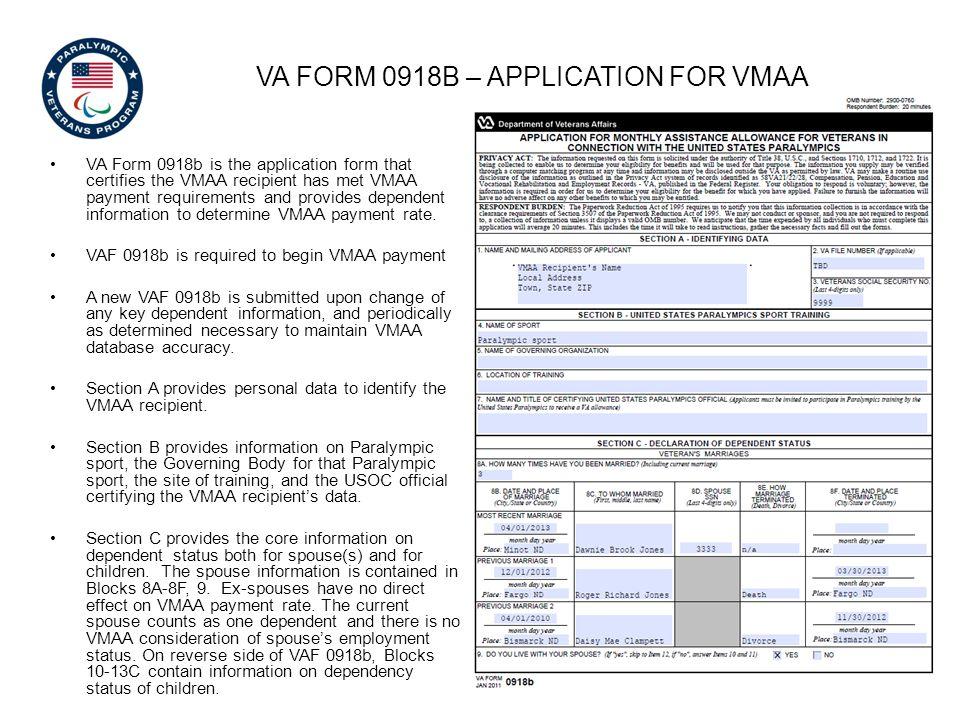 VA Form 0918b – application for vmaa