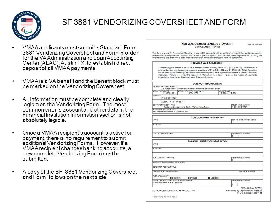 SF 3881 vendorizing coversheet and Form