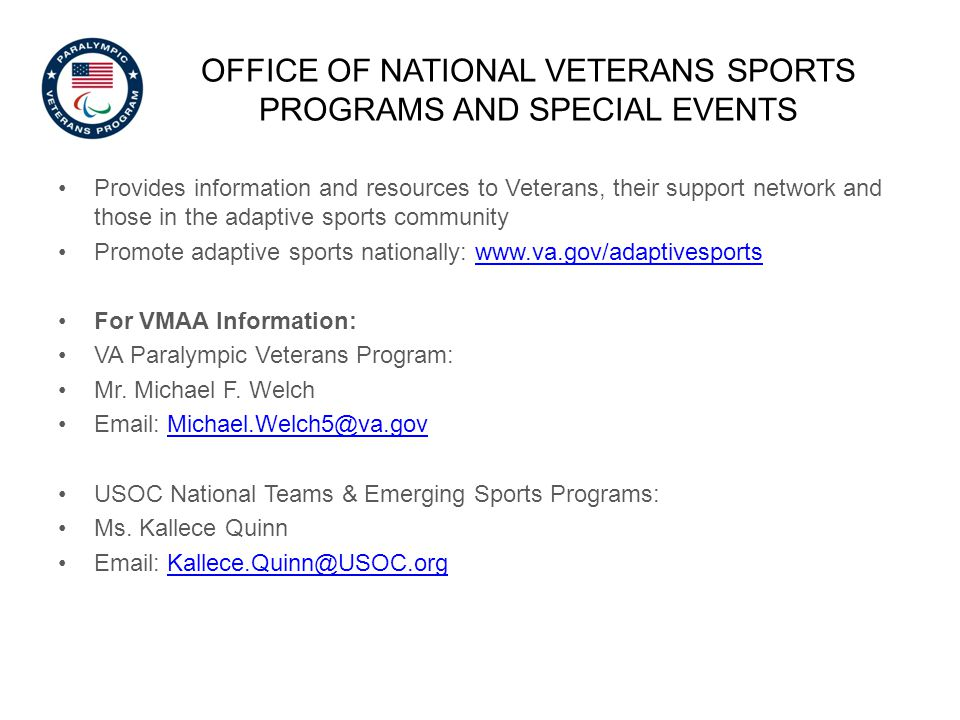 OFFICE OF national veterans sports programs and special events