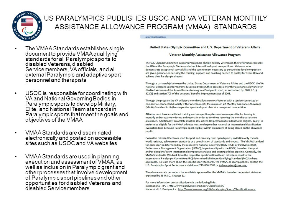 Us Paralympics publishes USOC and VA Veteran monthly assistance allowance program (vmaa) standards