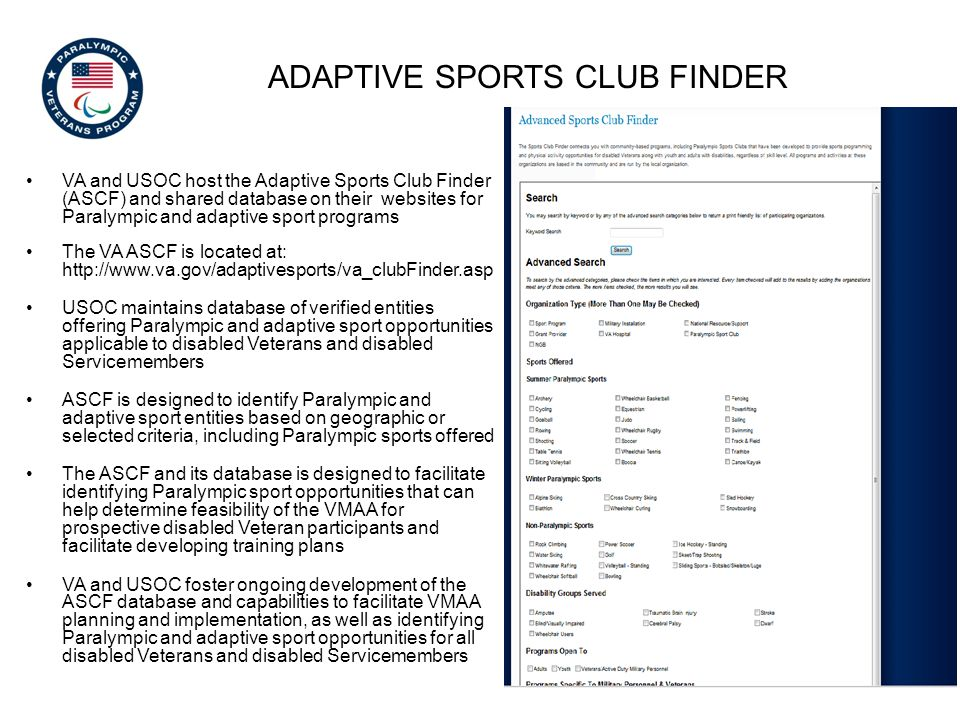 adaptive sports club finder