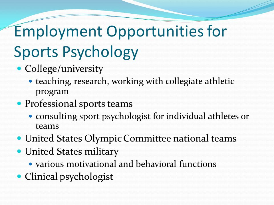 Employment Opportunities for Sports Psychology