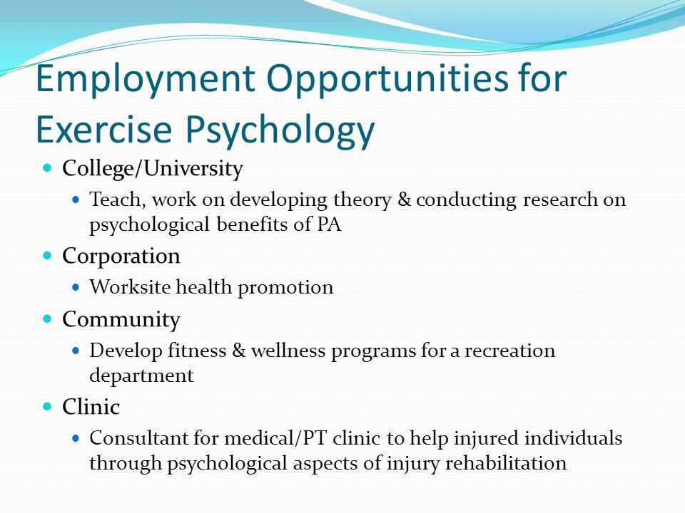 Employment Opportunities for Exercise Psychology