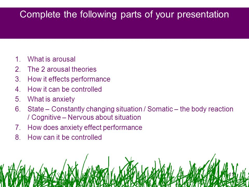 Complete the following parts of your presentation
