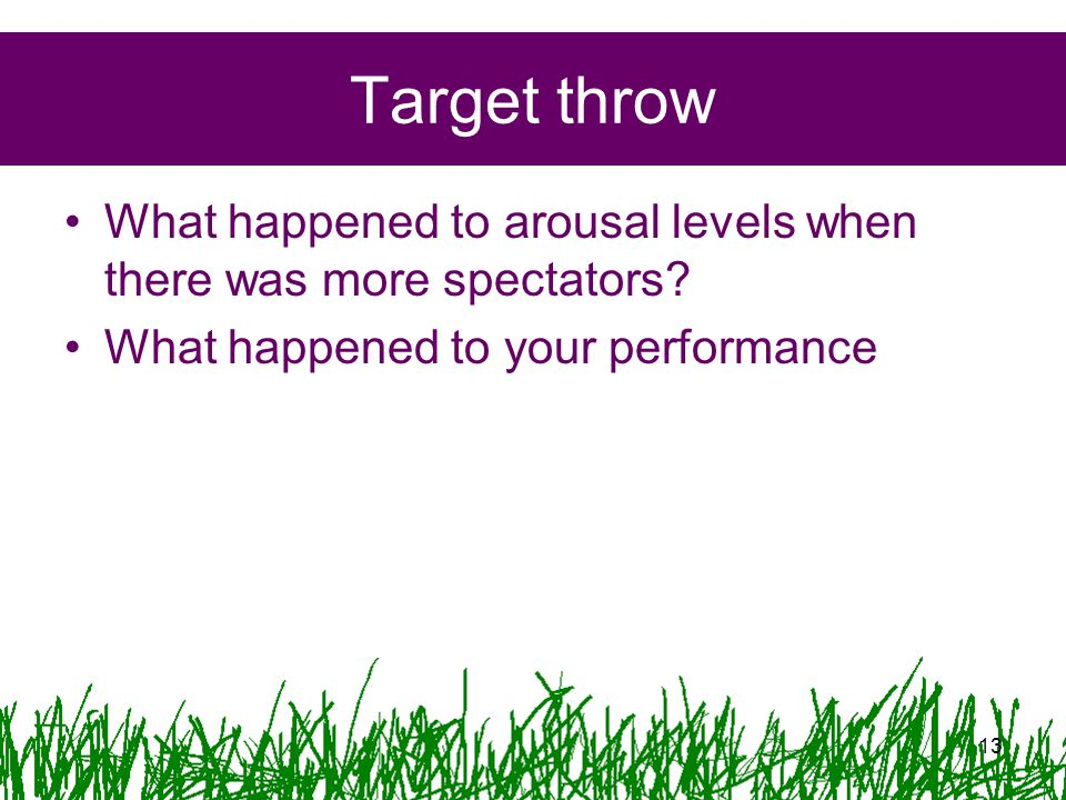 Target throw What happened to arousal levels when there was more spectators.