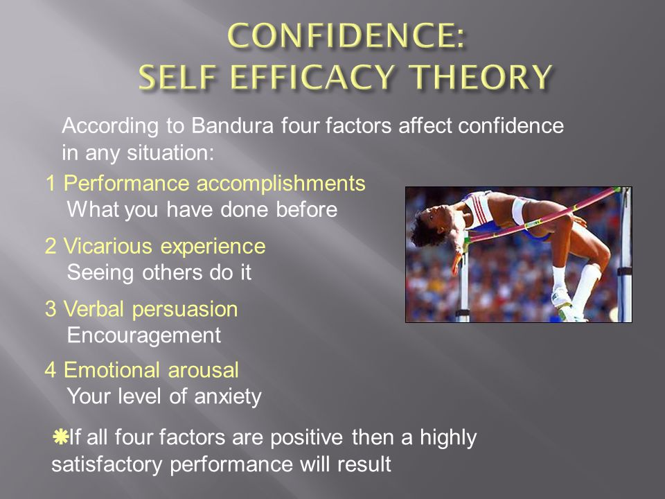 CONFIDENCE: SELF EFFICACY THEORY