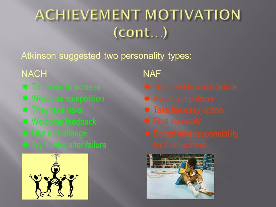 ACHIEVEMENT MOTIVATION (cont…)