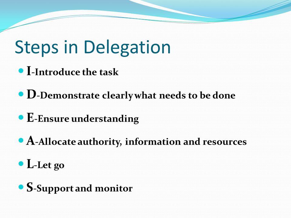 Steps in Delegation I-Introduce the task