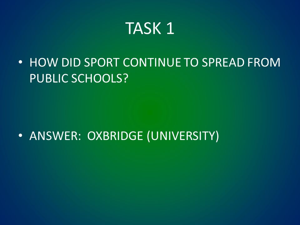 TASK 1 HOW DID SPORT CONTINUE TO SPREAD FROM PUBLIC SCHOOLS