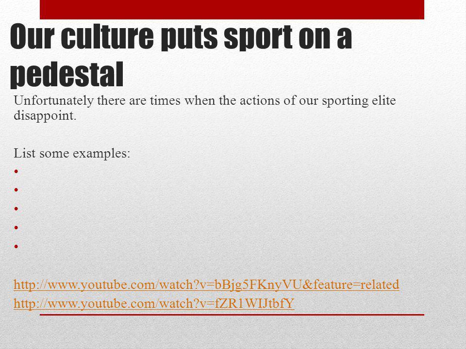 Our culture puts sport on a pedestal