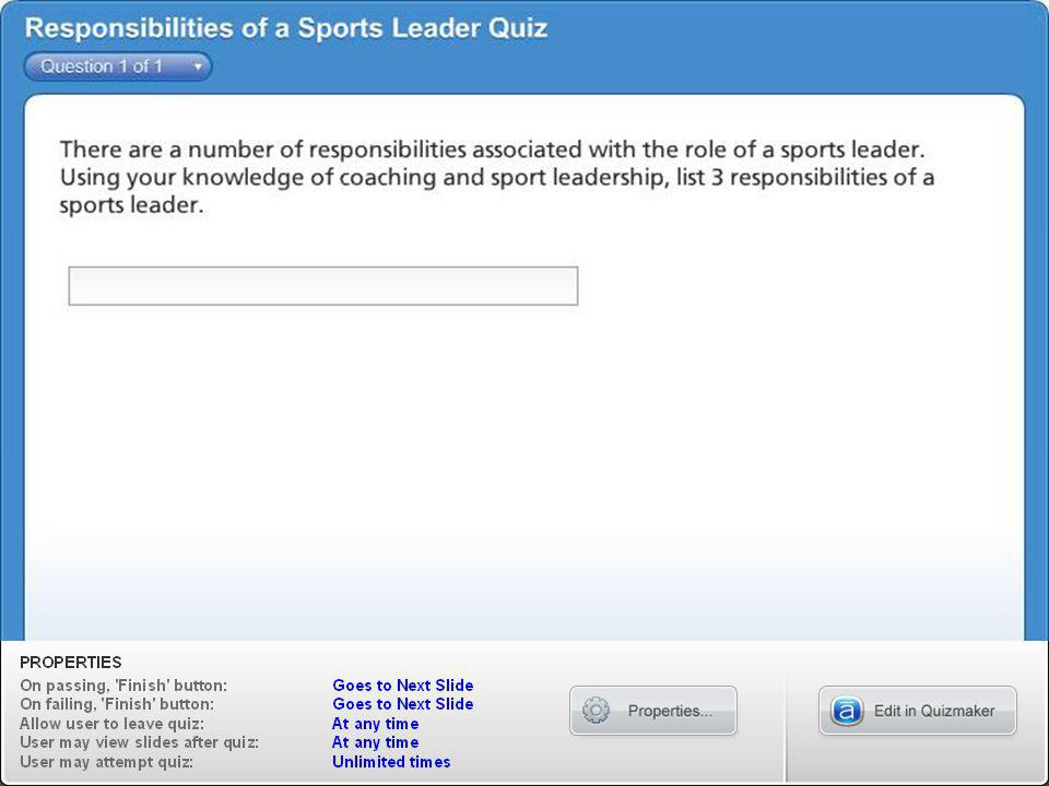 Responsibilities of a Sports Leader Quiz