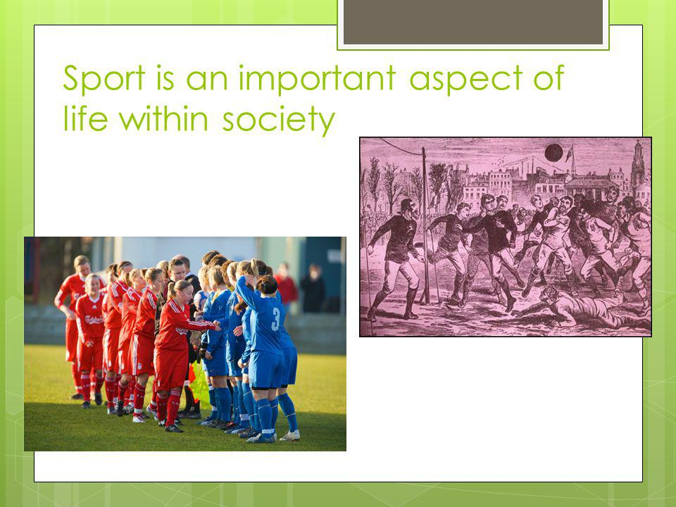 Sport is an important aspect of life within society