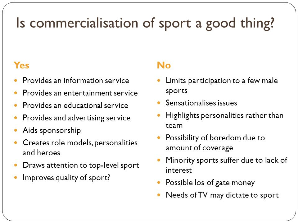 Is commercialisation of sport a good thing