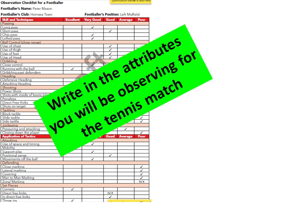 Write in the attributes you will be observing for the tennis match