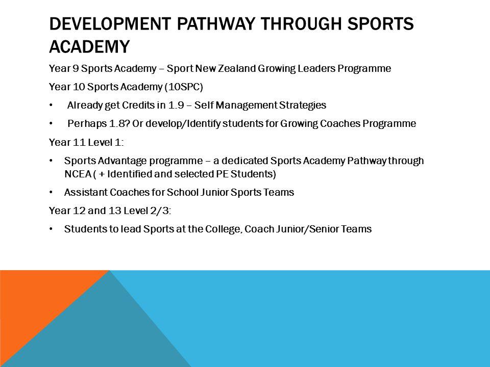 Development pathway through Sports Academy