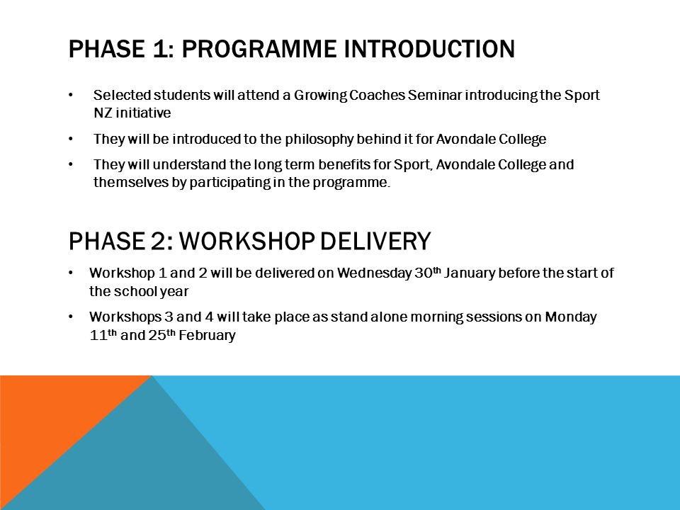 Phase 1: Programme introduction