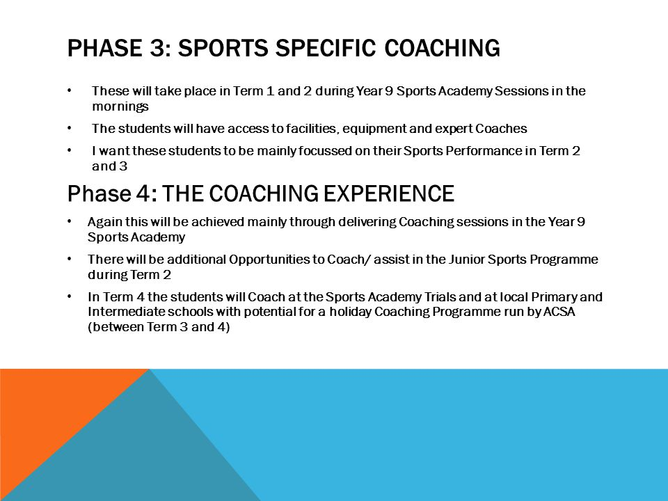 Phase 3: Sports specific coaching