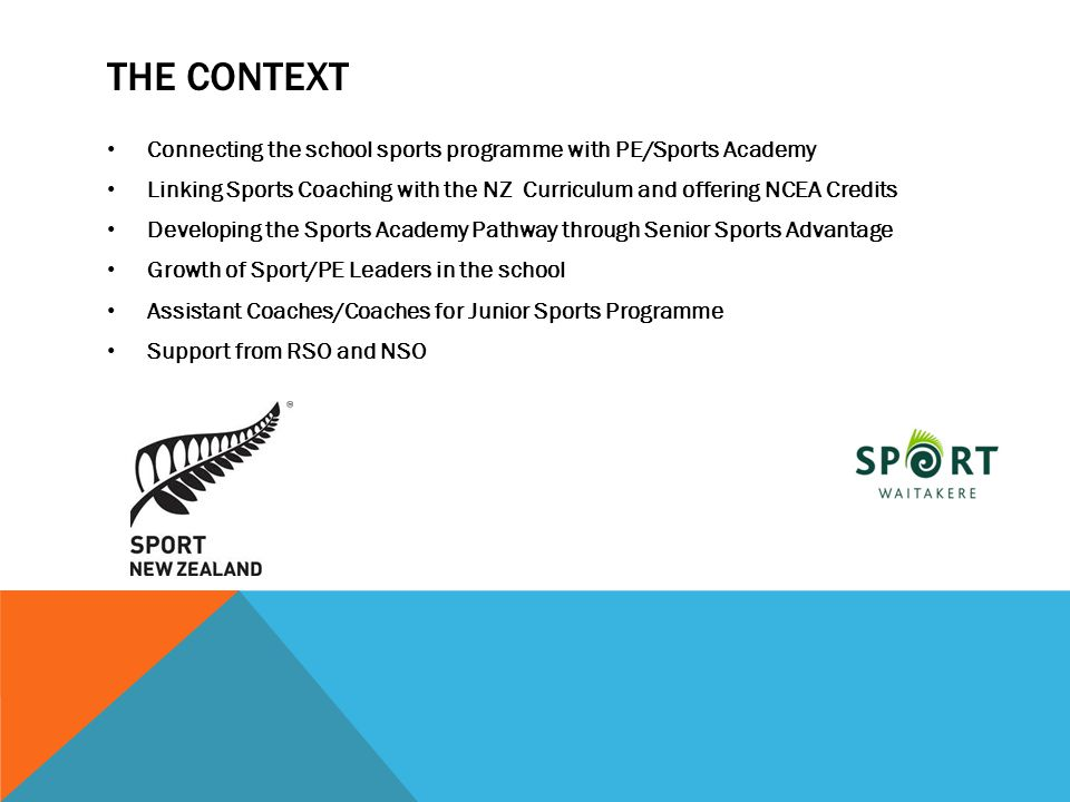 The context Connecting the school sports programme with PE/Sports Academy. Linking Sports Coaching with the NZ Curriculum and offering NCEA Credits.