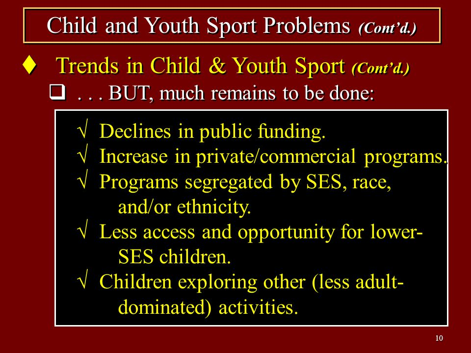 Child and Youth Sport Problems (Cont'd.)