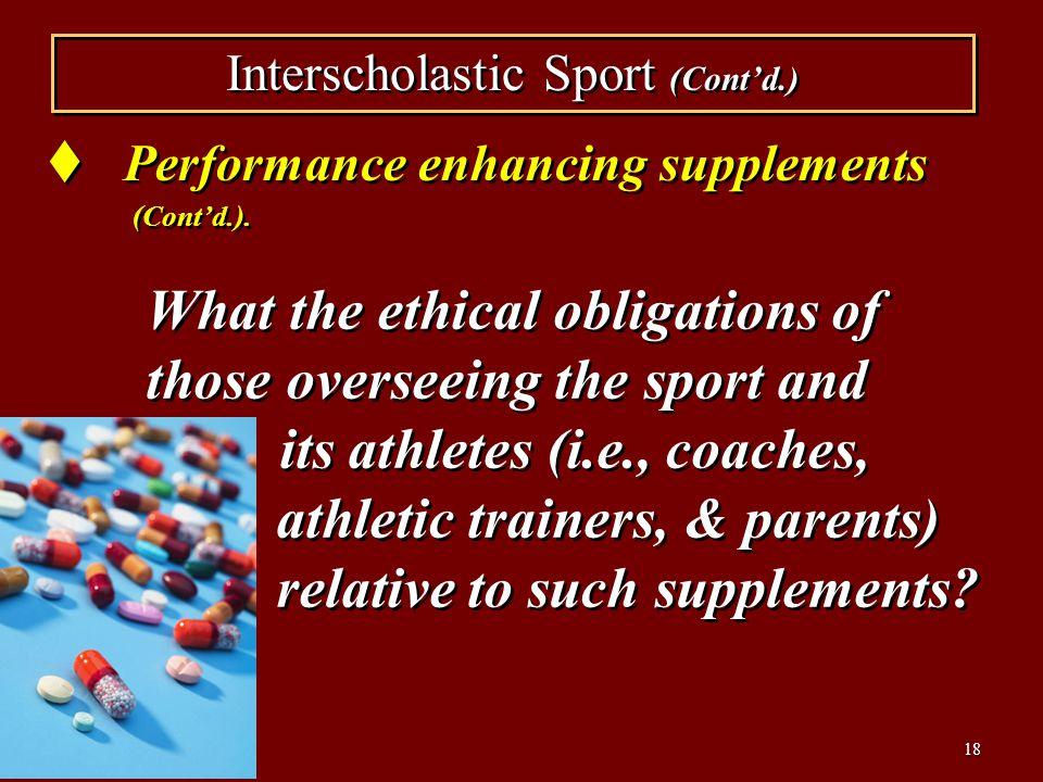 Interscholastic Sport (Cont'd.)