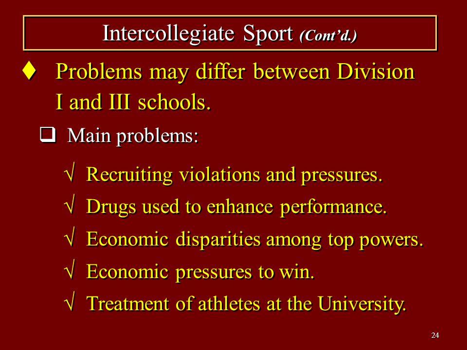 Intercollegiate Sport (Cont'd.)