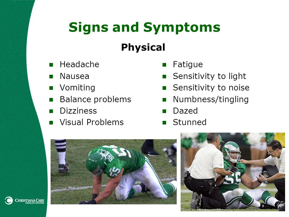 Signs and Symptoms Physical Headache Nausea Vomiting Balance problems