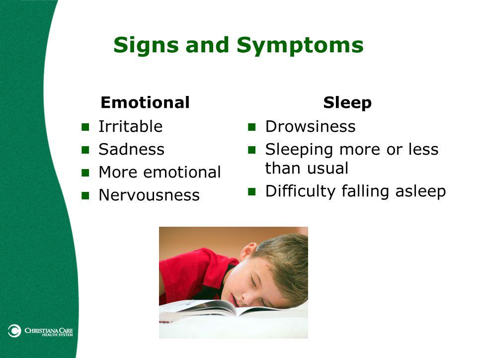 Signs and Symptoms Emotional Sleep Irritable Sadness More emotional