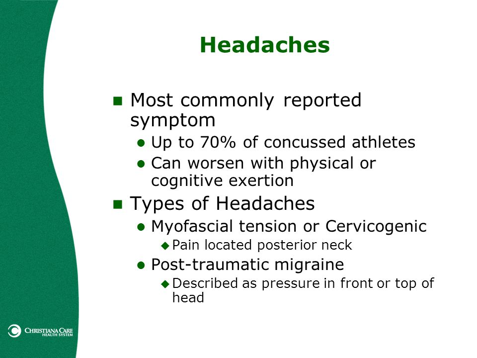 Headaches Most commonly reported symptom Types of Headaches