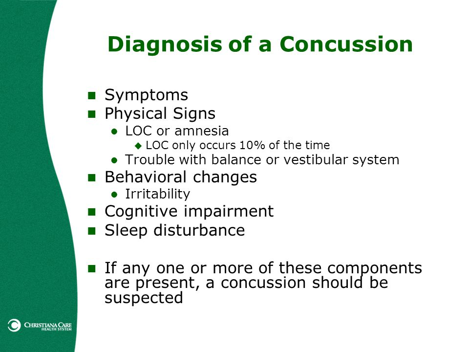 Diagnosis of a Concussion