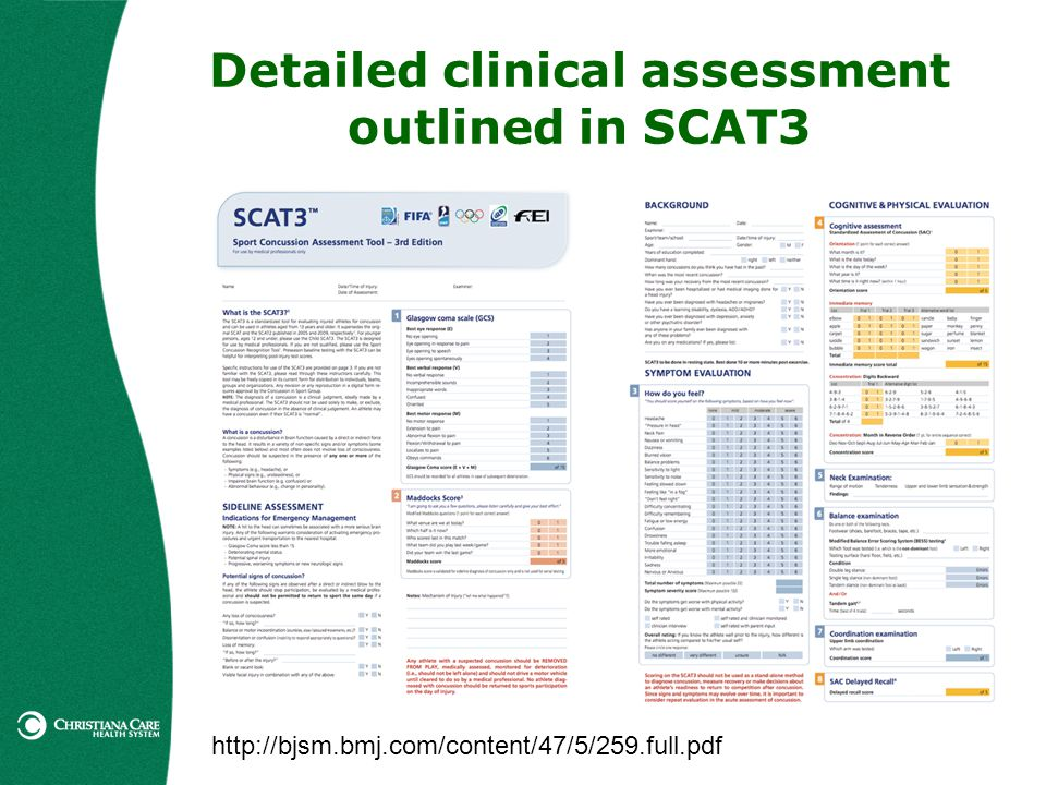 Detailed clinical assessment outlined in SCAT3