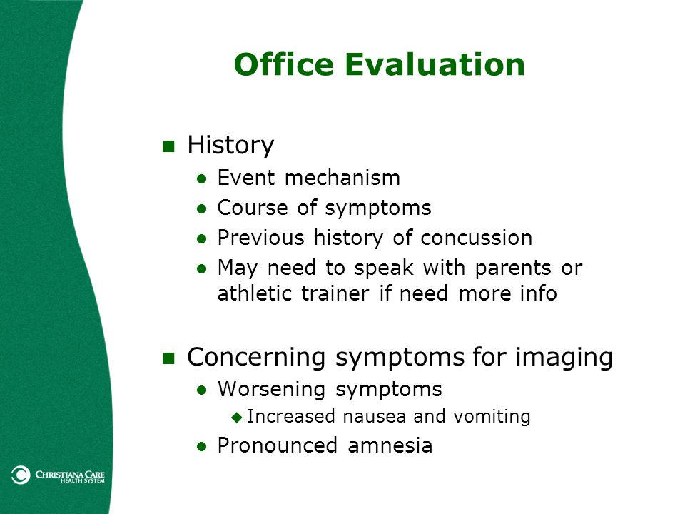 Office Evaluation History Concerning symptoms for imaging