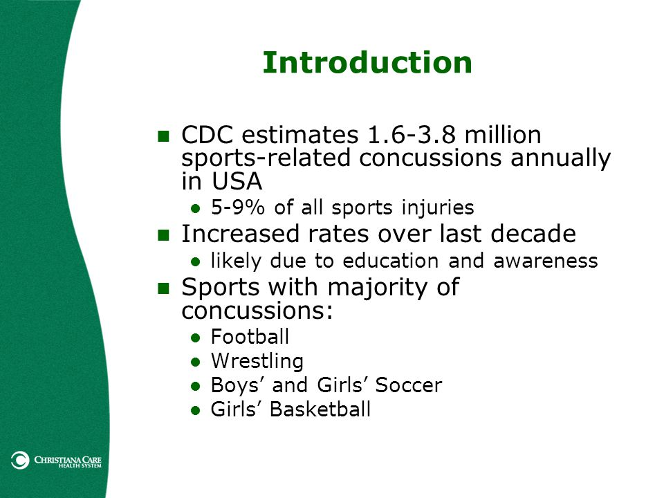 Introduction CDC estimates million sports-related concussions annually in USA. 5-9% of all sports injuries.