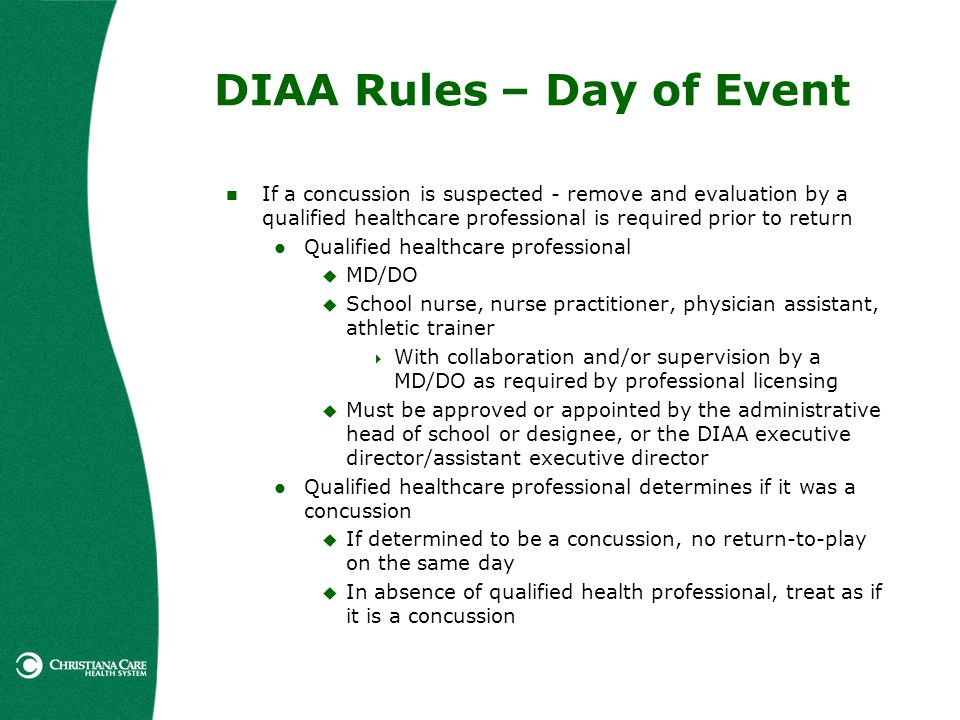 DIAA Rules – Day of Event