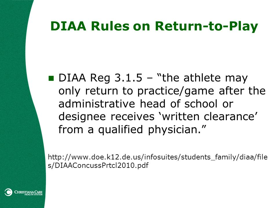 DIAA Rules on Return-to-Play